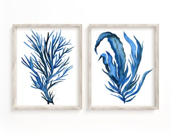Watercolor Seaweed Coral Prints