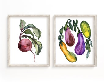 Vegetable Kitchen Art prints set of 2