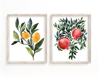 Oranges and Pomegranates Watercolor Prints set of 2