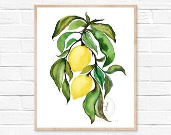 Large Lemons, Watercolor Print, Modern Art by hippiehoppy