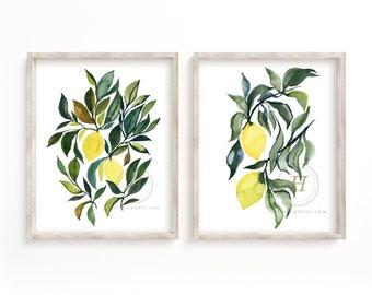 Lemon Kitchen Art Prints set of 2 by HippieHoppy