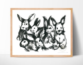 Bunny Watercolor Print | Rabbit Watercolor Painting | Children's Room Animal Nursery Decor | Bunnies | Bunny Print