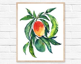 Large Mango Watercolor Print