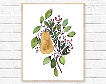 Pear Watercolor Print