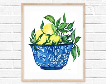 Lemons Watercolor Print by hippiehoppy