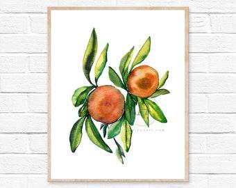 Tangerine Illustrated Watercolor Print