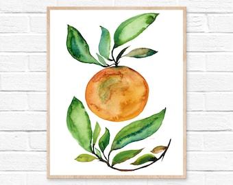 Orange Print, Watercolor Painting, Kitchen Art