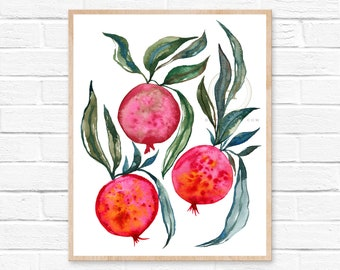 Large Pomegranate Watercolor Print by HippieHoppy