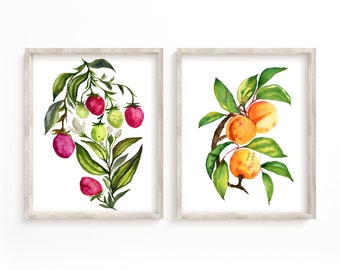 Strawberry and Apricot Watercolor Prints