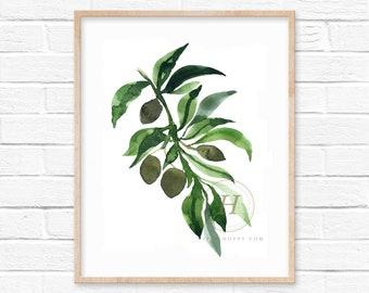 Olives Watercolor Print Kitchen Art