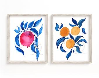 Pomegranate and Orange Watercolor Art Prints set of 2