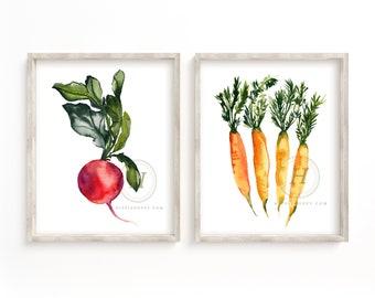Radish and Carrot Watercolor Prints set of 2