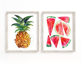 Pineapple and Watermelon Wall Art set of 2