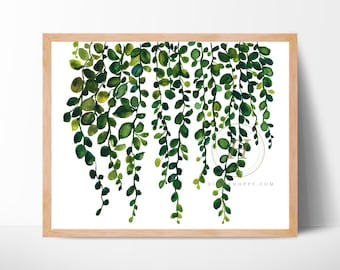 Large String of Pearls Watercolor Art Print by HippieHoppy