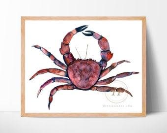 Crab Watercolor Art Print by HippieHoppy