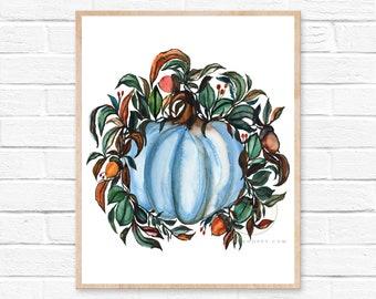 Fall Pumpkin Watercolor Art Print by HippieHoppy