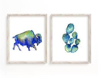 Bison and Cactus Watercolor Print Set of 2