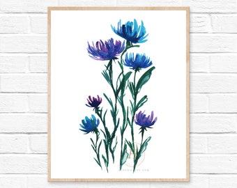 Flowers, Watercolor Print, Modern Art by HippieHoppy