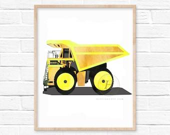 Dump Truck Watercolor Print