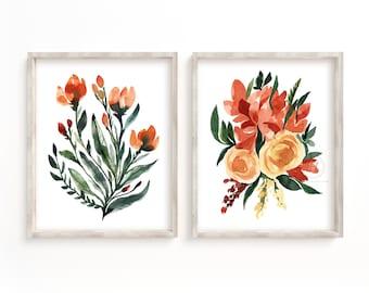 Orange Flower Art Print Botanical Set of 2 Botanical Wall Art