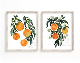 Orange Watercolor Prints Set by HippieHoppy