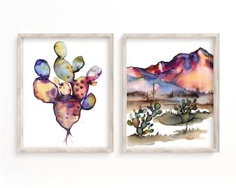 Desert Wall Art, Desert landscape, Wall Art, Set of 2