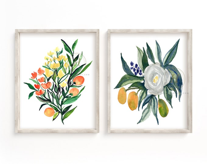 Featured listing image: Watercolor Flower Prints Set of 2