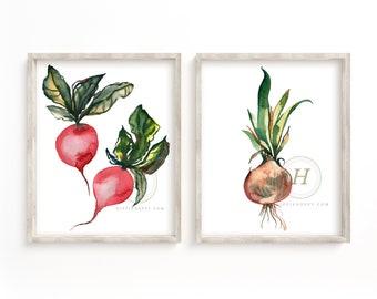 Radish and Onion Art Prints set of 2