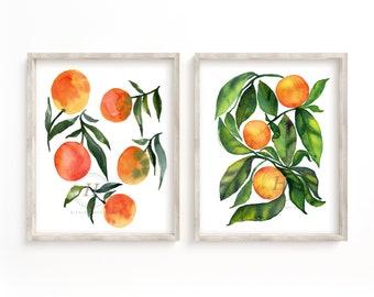 Orange Watercolor Art Set of 2 Prints