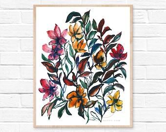 Large Flowers, Watercolor Print, Modern Art by HippieHoppy