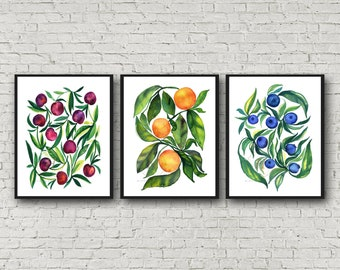 Large Food Prints, Kitchen Wall Art, Set of 3