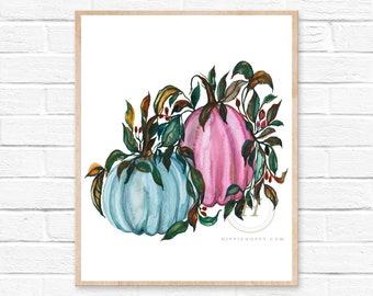 Large Pumpkin, Watercolor Print, Fall Wall Art