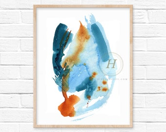 Abstract Blue and Orange Watercolor Print