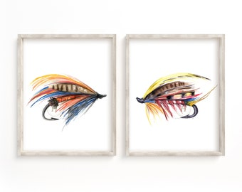 Large Fly Fishing Watercolor Prints Set of 2