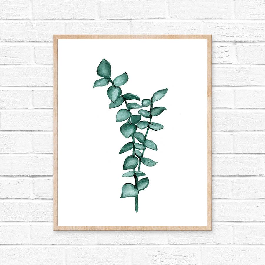 Eucalyptus Garland Art Print Eucalyptus Minimalist Home Decor Boho