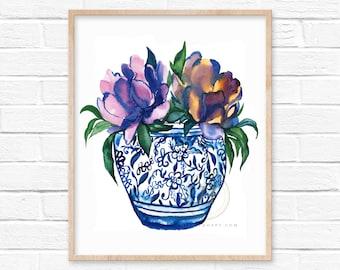 Large Flowers in Jar Watercolor Art Print