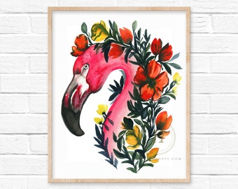 Flamingo with Flowers Watercolor Print