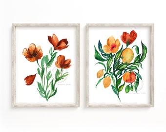 Flowers Watercolor Prints Set of 2 Floral Art