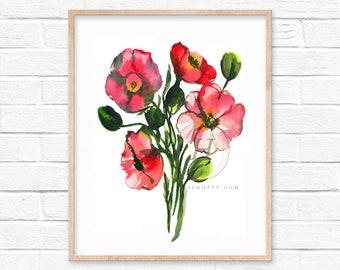 Large Pink Flowers Watercolor Print