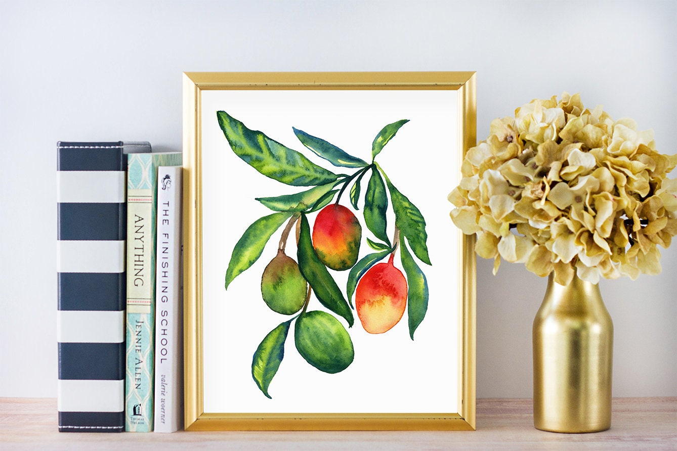 Decorating With Colors Mango: Mango Watercolor Watercolor Painting Mango Watercolor