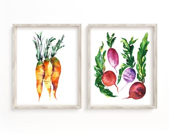 Rooted Vegetable Prints Set of 2