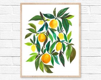 Lemon Orange Watercolor Print