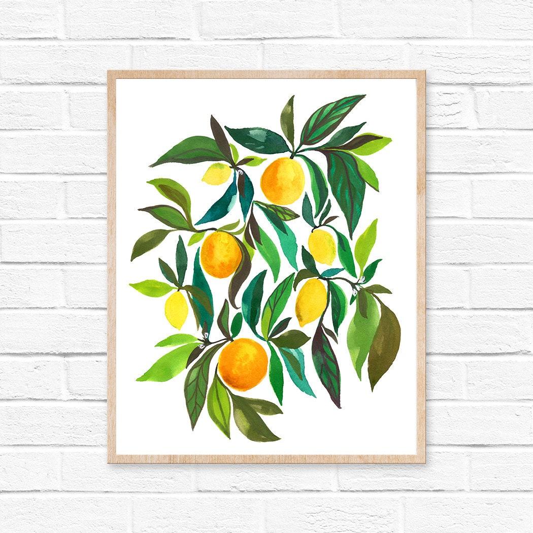 Lemon orange kitchen art kitchen decor fruit citrus kitchen wall art lemon print fruit wall art fruit painting fruit print home decor