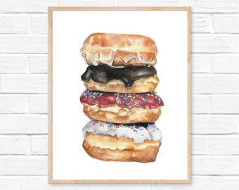 Donut Print No.1 Donut Wall Art Sweets Print Food Art Print Doughnut Print Kitchen Decor Doughnut Illustration Doughnut Wall Art Foodie Art