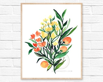 Bouquet of Flowers with Oranges Watercolor Print Kitchen Art