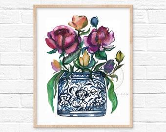 Large Flowers in Jar Art Prints
