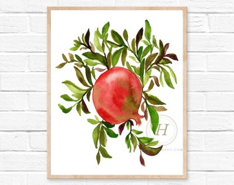 Pomegranate Tree Watercolor Print
