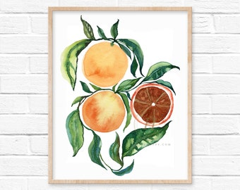 Large Orange Botanical Print, Orange Botanical Art Print, Orange Wall Art, Orange Décor