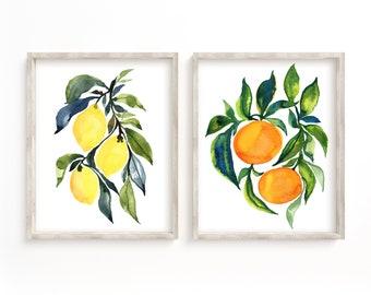 Fruit Print Set of 2 Watercolor Paintings
