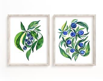 Blueberry Watercolor Prints set